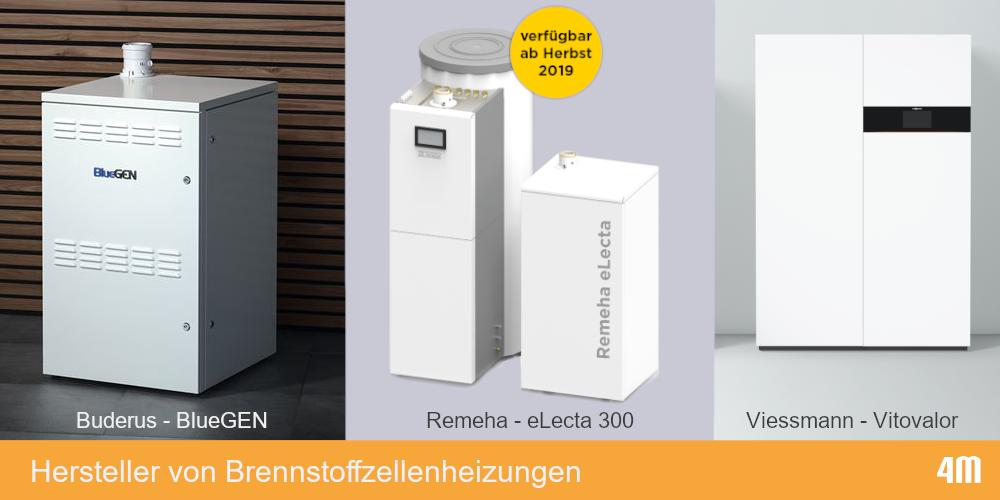 Geräte der verschiedenen Hersteller von Brennstoffzellenheizungen
