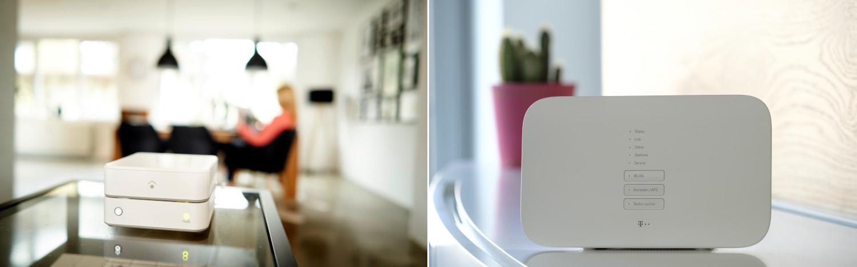SmartHome-Produkte von innogy und der deutschen Telekom in einer Wohnung
