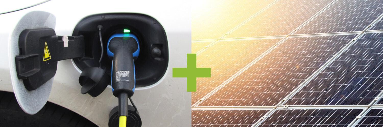 E-Auto und Solarpanels